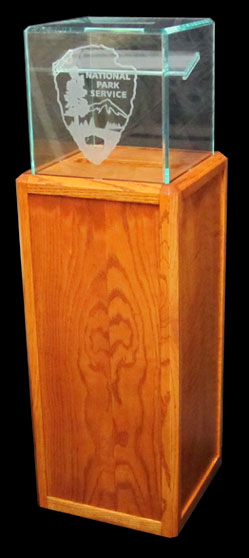 Wood finish pedestal donation boxes
